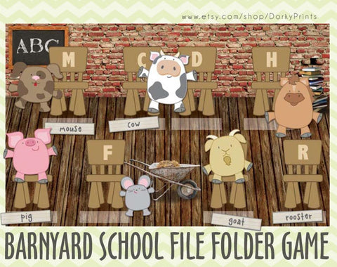 Barnyard School File Folder Game Learning Printables