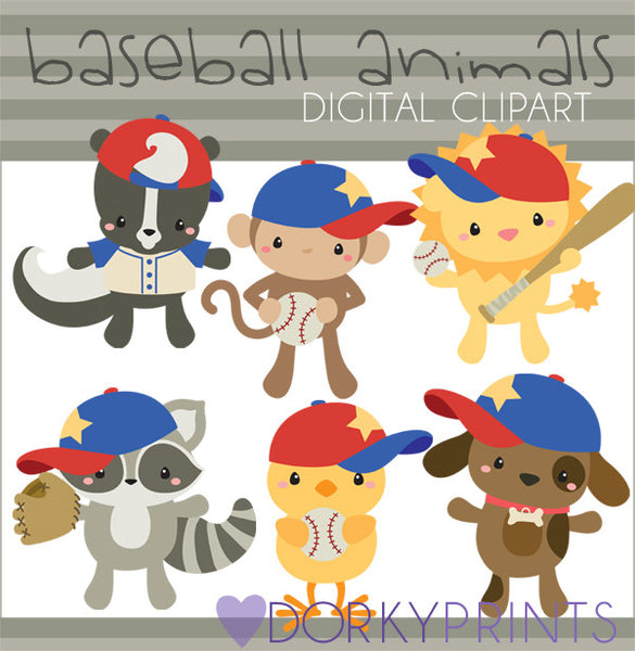 Baseball Animals Clipart