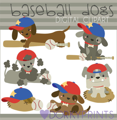 Doggy Baseball Animals Clipart
