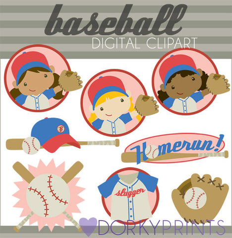 Girl Baseball Kid Clipart