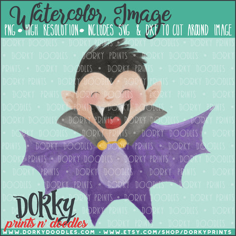 Bat Boy Watercolor PNG