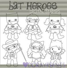 Black Line Bat Hero Clipart