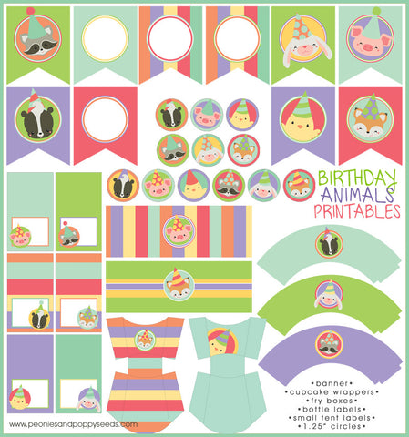 Animal Birthday Party Printables