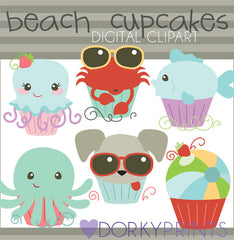 Beach Cupcakes Summer Clipart