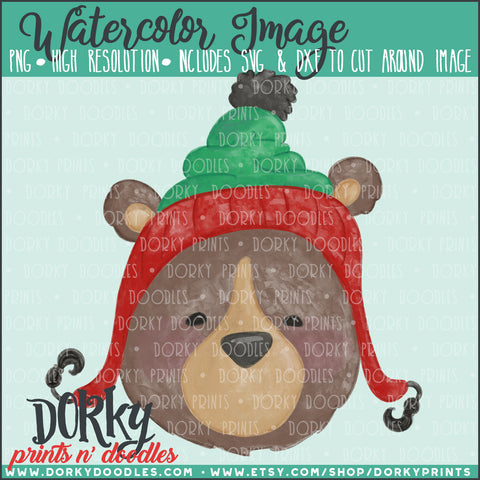Christmas Hat Bear Watercolor PNG