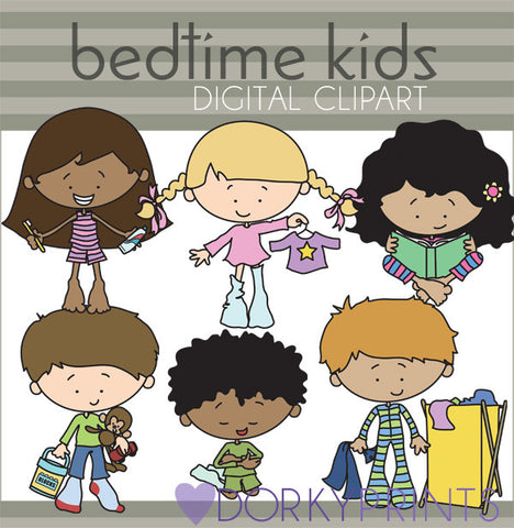 Bedtime Routine Kids Digital Clip Art