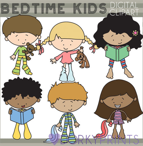 Bedtime Pajamas Kid Clipart