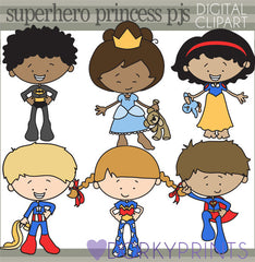Superhero and Princess Pajama Kid Clipart