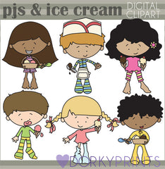 Pajama Ice Cream Party Kid Clipart