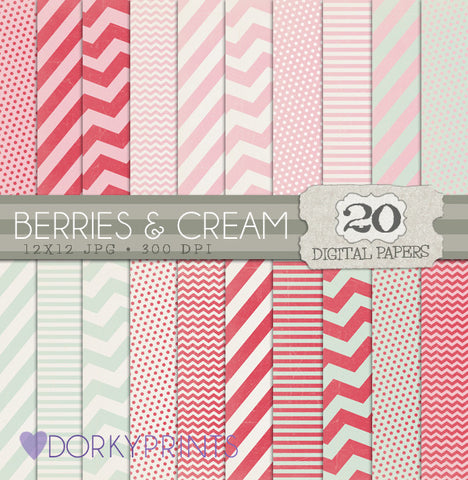 Berries and Cream Digital Paper Pack
