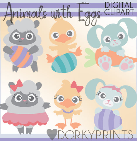 Bunny Duck and Sheep Spring Clipart