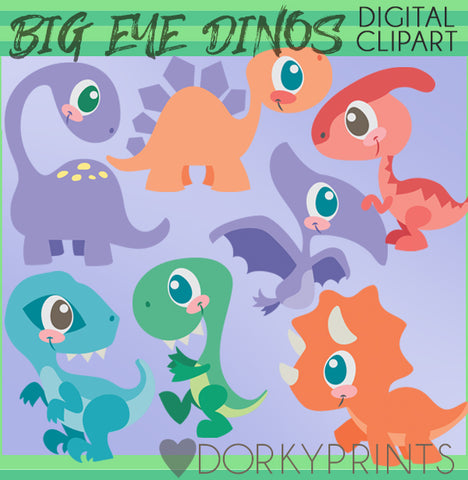 Dinosaur with Big Eyes Animals Clipart