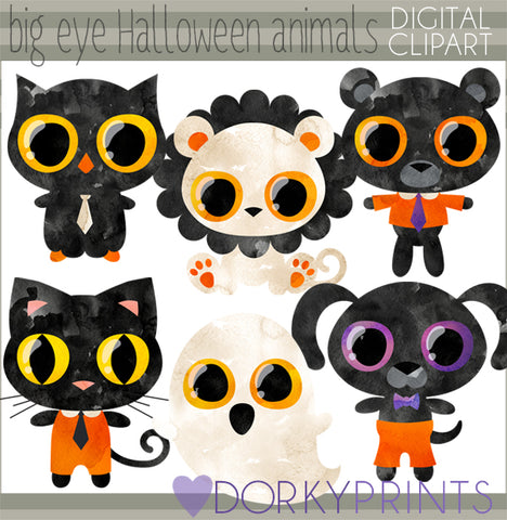 Big Eyes Animal Halloween Clipart