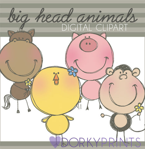 Big Head Animals Clipart