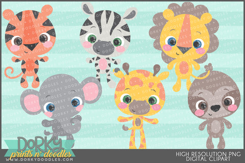 Big Eye Jungle Animals Clipart
