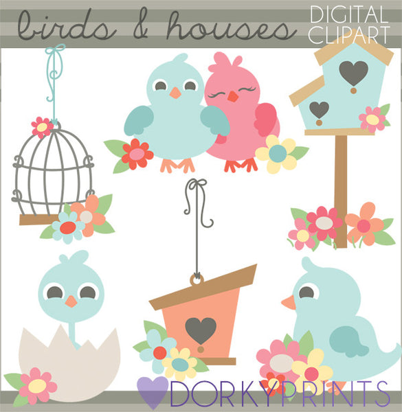 Birdhouse and Spring Bird Clipart