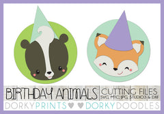 Birthday Fox and Skunk Cuttable Files