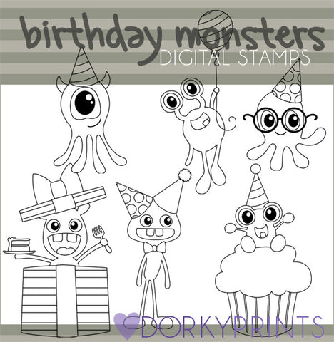 Monsters Black Line Birthday Clipart
