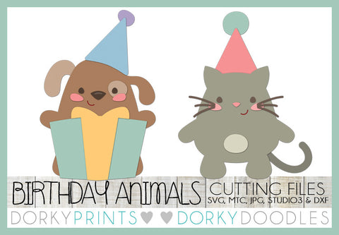 Birthday Cat and Dog Cuttable Files
