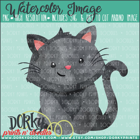 Black Cat Watercolor PNG