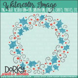 Blue Swirls Holly Wreath Watercolor PNG
