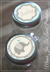 Blue Elephant Mason Jar Lid Labels Baby Shower Printables