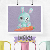 Blue Easter Bunny Watercolor PNG