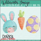 Blue Easter Bunny Trio Watercolor PNG