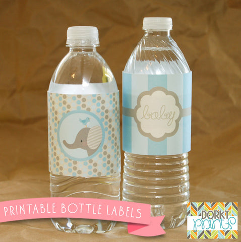 Blue Elephant Water Bottle Labels Baby Shower Printables