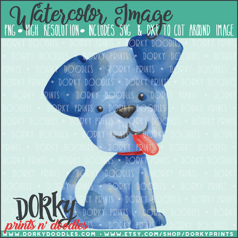 Blue Puppy Watercolor PNG