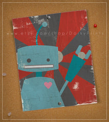 "Blue Robot 8x10"" Printable"