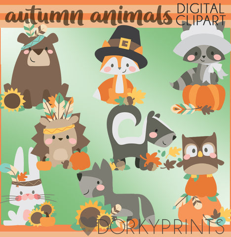 Pumpkins and Animals Thanksgiving Clipart