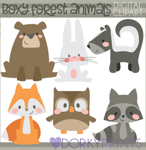 Boxy Forest Animals Clipart