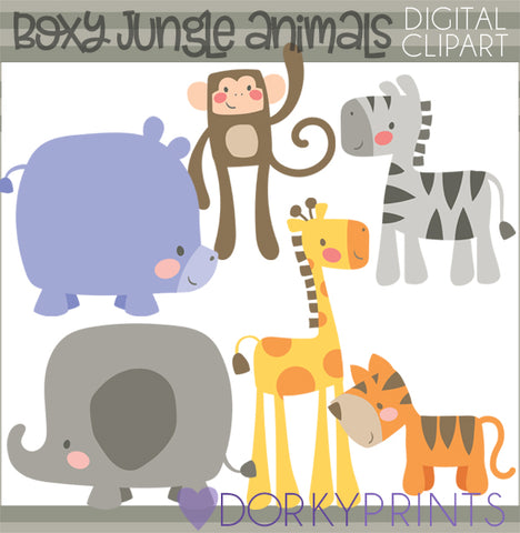 Boxy Jungle Animals Clipart