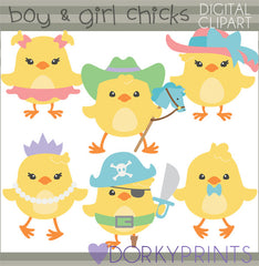 Boy and Girl Chicks Spring Clipart