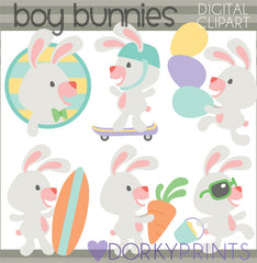 Boy Bunnies Spring Clipart