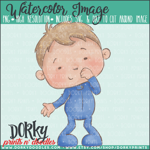 Boy in Blue PJs Watercolor PNG