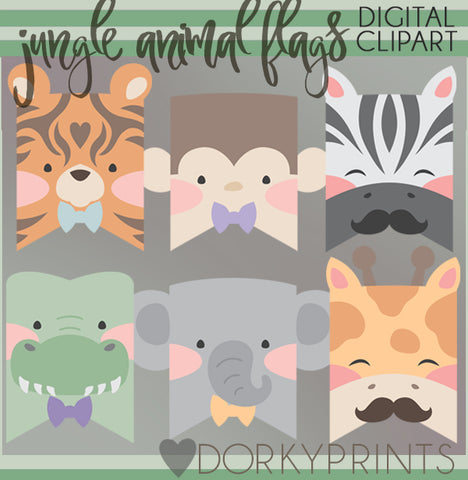 Boy Jungle Animals Clipart