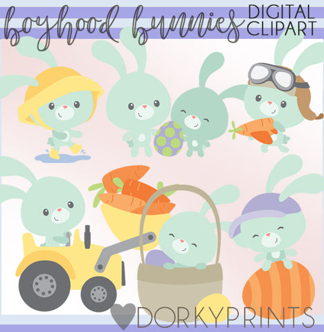 Blue Bunny Spring Clipart