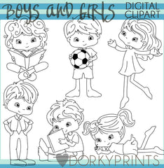 Blackline Cute Kid Clipart