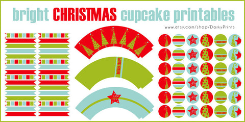 Holly Jolly Christmas Cupcake Holiday Printables