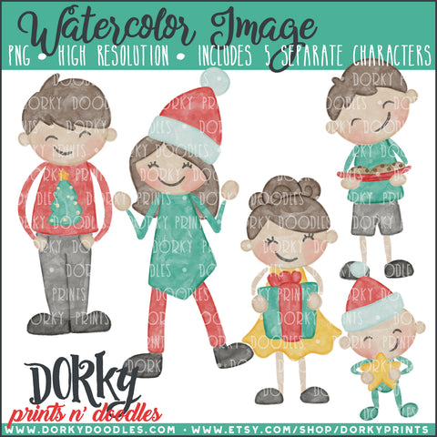 Christmas Family Watercolor PNG Alternate Kids