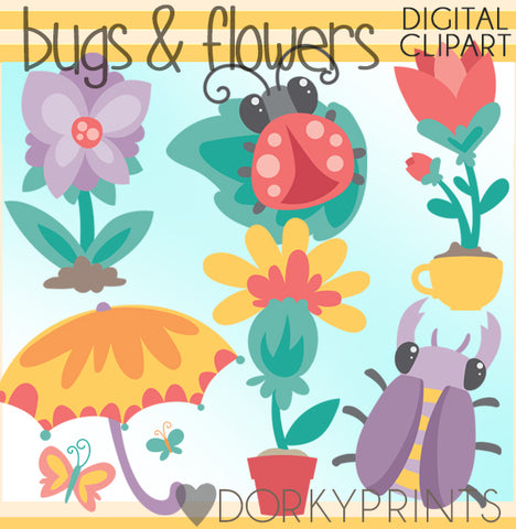 Cute Bugs and Flowers Summer Clipart