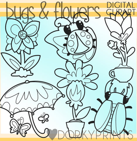 Cute Bugs and Flowers Blackline Summer Clipart