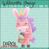 Easter Bunny Unicorn Watercolor PNG