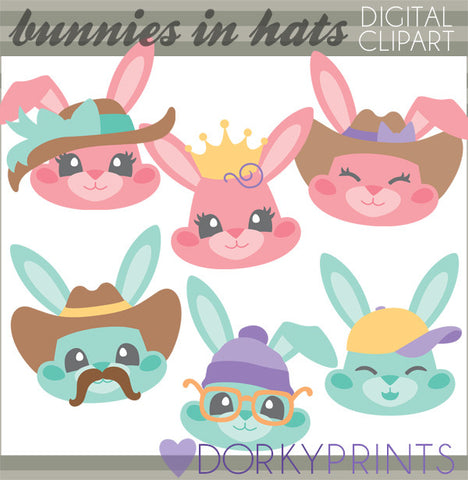 Bunnies in Hats Spring Clipart