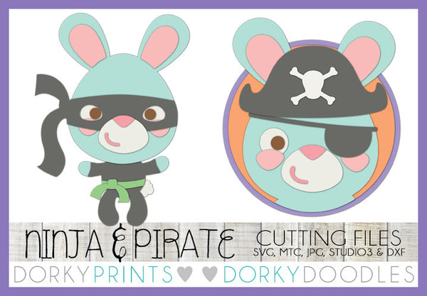Easter Bunny Ninja and Pirate SVG Cuttable Files