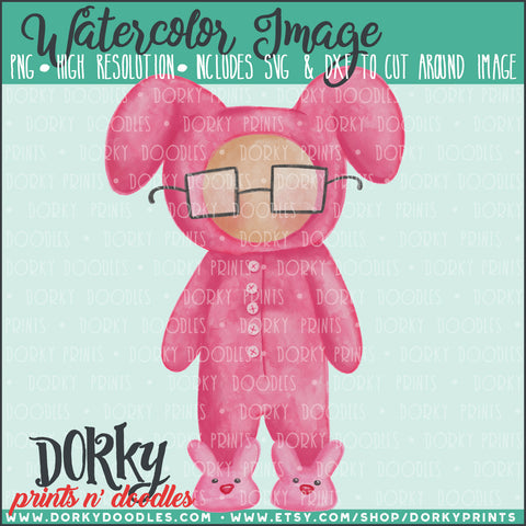 Pink Bunny Pajamas Watercolor PNG
