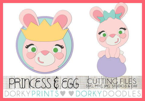 Easter Princess and Bunny Sitting on Egg SVG Cuttable Files