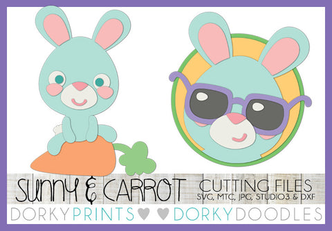 Easter Sunglasses and Bunny Sitting on Carrot SVG Cuttable Files